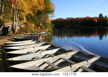 Docked Boats During Autumn