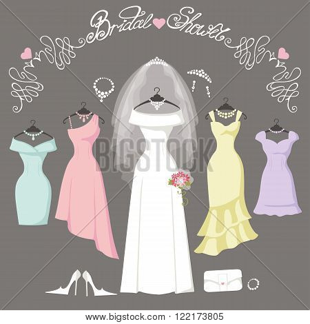 Wedding dresses hanging.Fashion bride and bridesmaid Dress made in flat style.White dress, accessories set, flowers bouquet, veil, swirls.Holiday vector background.Bridal shower composition