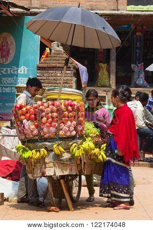He Hawker Sell His Fruits, Katmandu, Nepal.