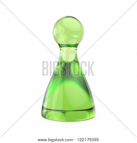 Green game figure. 3D render illustration isolated on white background