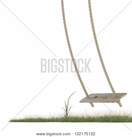 Swing made of rope and a wooden plank over grass ground. 3D render illustration isolated on white background
