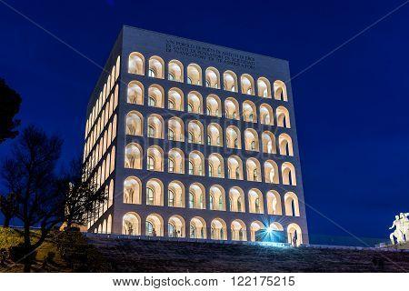 The Palazzo Della Civiltà Italiana, Aka Square Colosseum, Rome, Italy