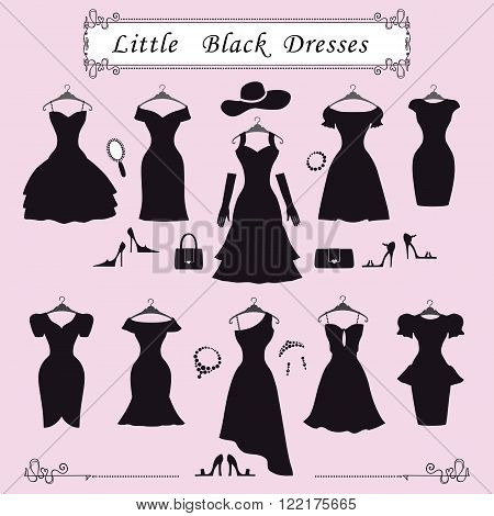 Fashion dress.Different styles of little black party dresses Silhouette set. Composition made in modern flat vector style.Handbag, high heel shoes, jewelry decoration, swirling frame.Isolated Illustration