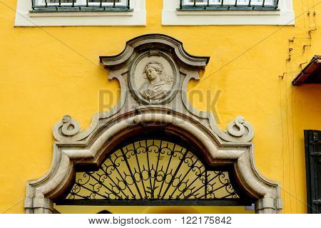 SALZBURG AUSTRIA - FEBRUARY 10 2016: Doorway detail of Mozarts birthplace museum building in Salzburg Austria.