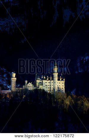 Neuschwanstein Casle in Bavaria Germany at night.
