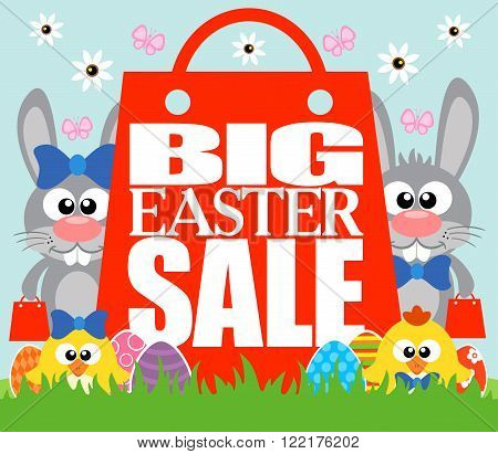 Big Easter Sale card with funny chickens and rabbits