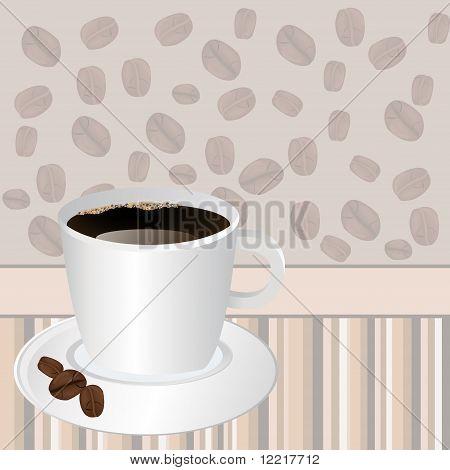 Taza de café sobre fondo rayas con granos de café Rosted