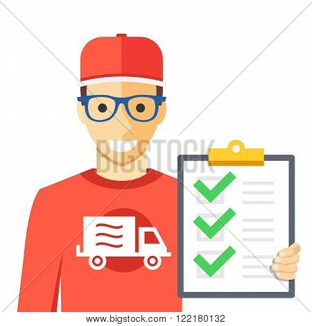 Courier and orders list. Man with delivery truck logo holding clipboard with successfully delivered orders list. Flat illustration graphic for web sites, web banners, infographics. Vector illustration