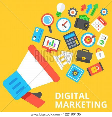 Digital marketing flat illustration. Loudspeaker with a lot of marketing and business icons. Modern flat design concept for web banners, web sites, printed materials, infographics. Vector illustration