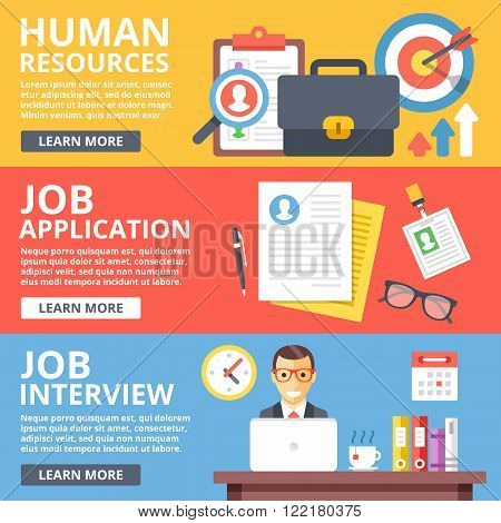 Human resources, job application, job interview flat illustration set. Creative flat design elements and concepts for web sites, web banner, printed materials, infographics. Modern vector illustration