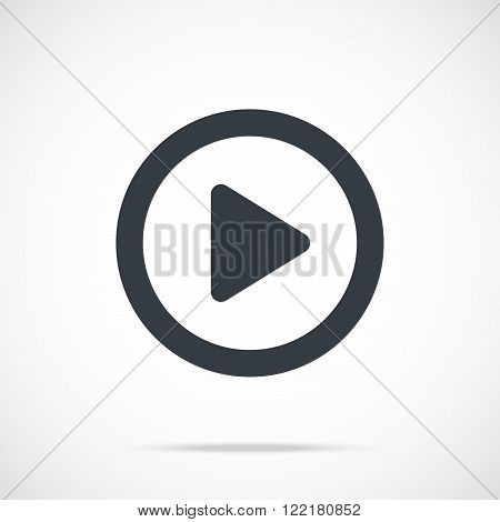 Vector play icon. Black play button, round flat icon. Flat design vector illustration concept for web banners, web sites, web and mobile apps, infographics. Vector icon isolated on gradient background