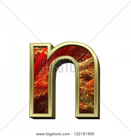 One lower case letter from fire alphabet set isolated over white. Computer generated 3D photo rendering.
