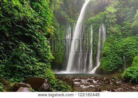 Tiu Kelep waterfall near Rinjani, Senaru, Lombok, Indonesia, Southeast Asia