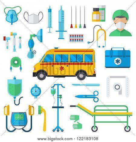 Resuscitation symbols first aid kit and hospital resuscitation symbols flat vector. Resuscitation symbols vector illustration.