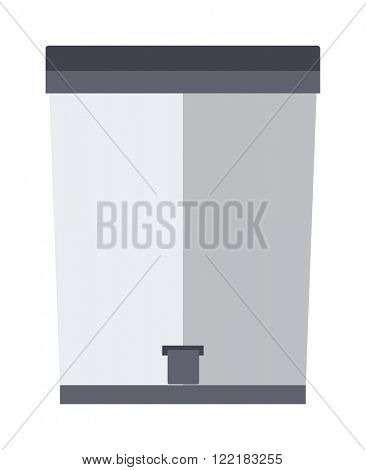 Trash bin garbage container and trash bin recycle symbol vector. Garbage trash bin flat vector isolated on white background.