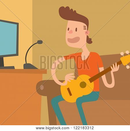 Cartoon musician guitar and musician play on sound guitar. Young musician plays on the electric guitar with bright emotions vector illustration isolated on white background.