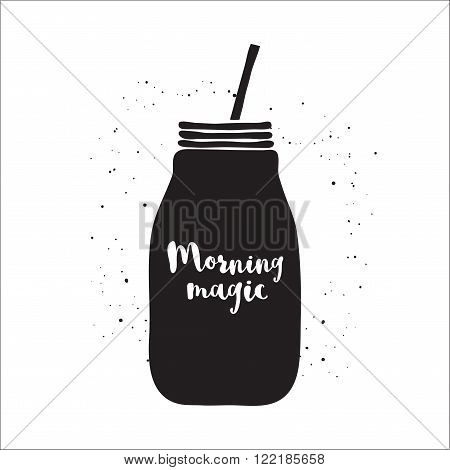 Black and white vector illustration with smoothie jar. Hand drawn mason jar with lettering Morning magic. Black and white vector illustration with jar of smoothie. Jar vector icon. Isolated mason jar. Smoothie. Monochrome vector mason jar.