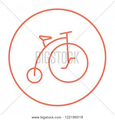 Old bicycle with big wheel line icon.