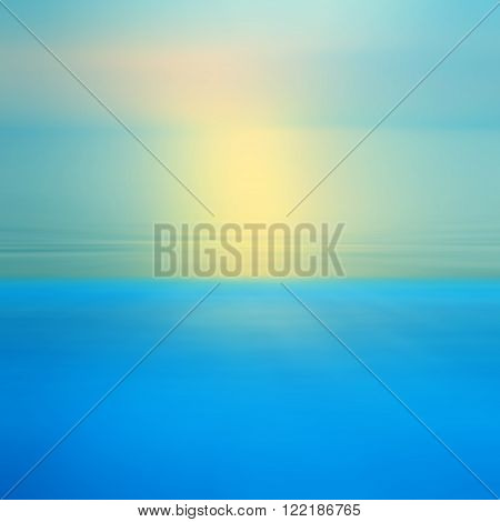 Motion blurred abstract background of refraction in water. Dramatic view of Infinity sunset on the sea at twilight times.
