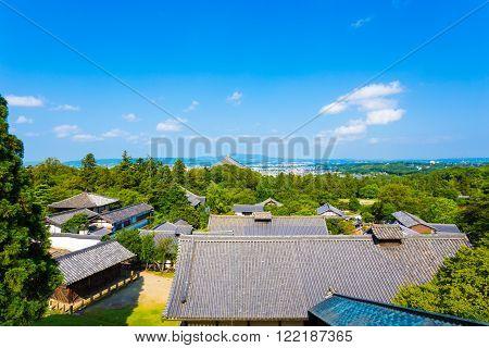 Nigatsu-do Hall View Of Roofs Landscape Todai-ji
