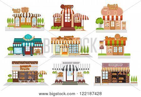 Cafe restaurantbakery shop pizza cafe coffee Flat vector illustration stock set