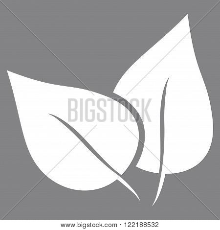 Flora Plant vector icon. Picture style is flat flora plant icon drawn with white color on a gray background.