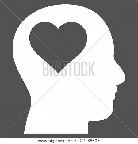Lover Head vector icon. Picture style is flat lover head icon drawn with white color on a gray background.