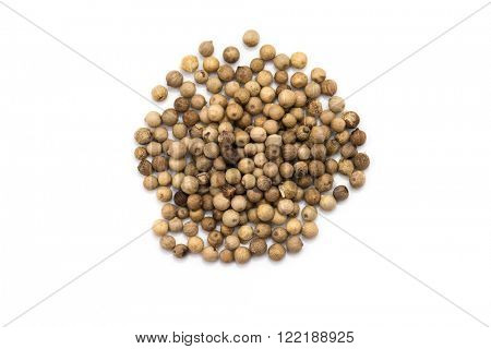 White pepper grains isolated on white background