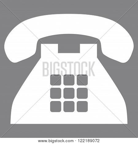 Tone Telephone vector icon. Picture style is flat tone phone icon drawn with white color on a gray background.