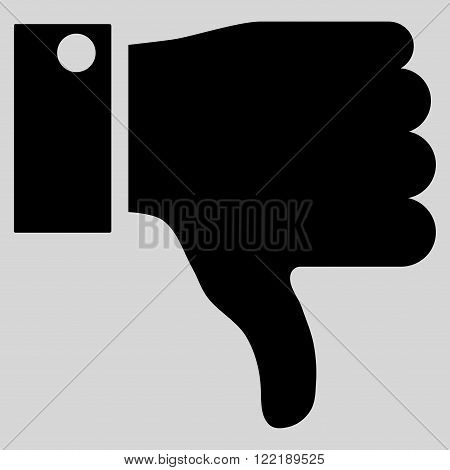 Thumb Down vector icon. Picture style is flat thumb down icon drawn with black color on a light gray background.