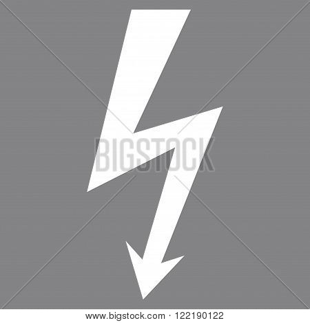 High Voltage vector icon. Picture style is flat high voltage icon drawn with white color on a gray background.
