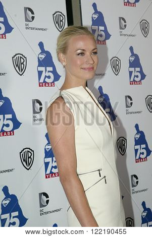 Yvonne Strahovski arrives at the DC Entertainment and Warner Bros.Superman 75th anniversary party at San Diego Comic-Con at the Hard Rock Hotel San Diego's Float Bar, July 19, 2013 in San Diego, CA.
