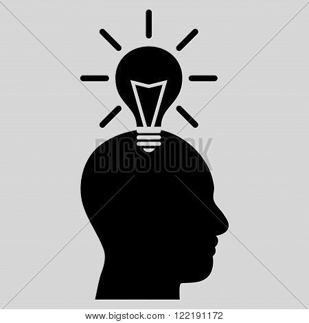 Genius Bulb vector icon. Picture style is flat genius bulb icon drawn with black color on a light gray background.