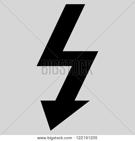 High Voltage vector icon. Picture style is flat high voltage icon drawn with black color on a light gray background.