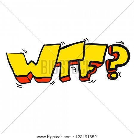 freehand drawn cartoon illustration of WTF symbol