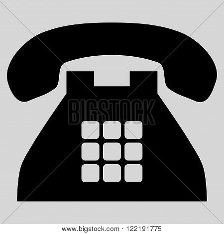 Tone Phone vector icon. Picture style is flat tone phone icon drawn with black color on a light gray background.