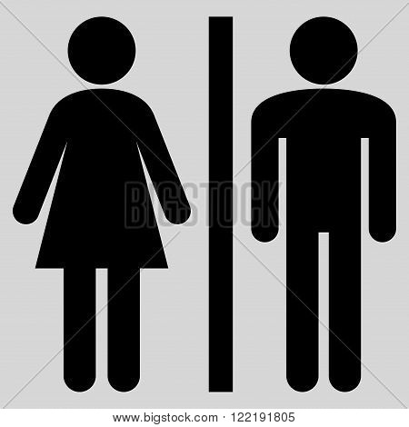Lavatory Persons vector icon. Picture style is flat WC persons icon drawn with black color on a light gray background.