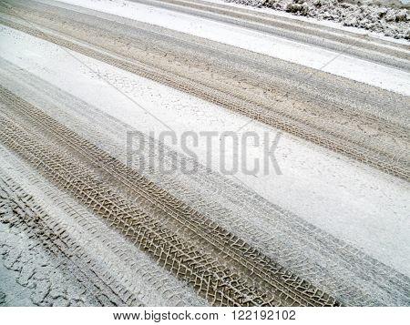 winter, tire tracks on snowy road