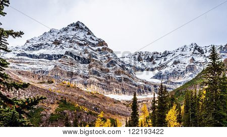 Mount Aberdeen from the Hiking Trail to the Plain of Six Glaciers in Banff National Park in the Canadian Rocky Mountains