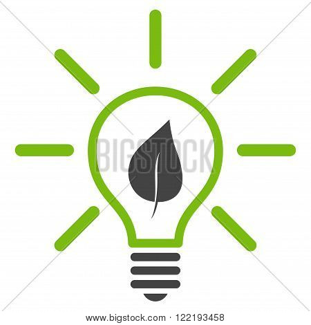 Eco Light Bulb vector icon. Picture style is bicolor flat eco light bulb icon drawn with eco green and gray colors on a white background.