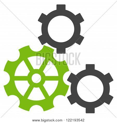 Engine Components vector icon. Picture style is bicolor flat gears icon drawn with eco green and gray colors on a white background.