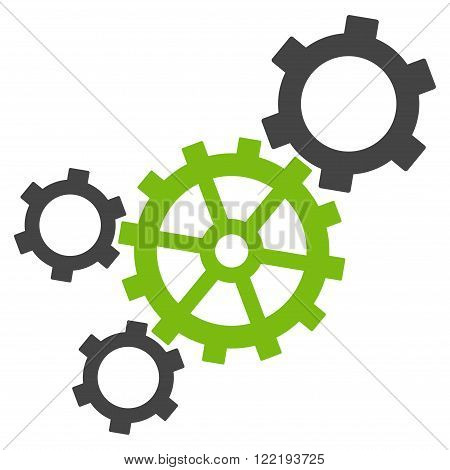 Mechanism vector icon. Picture style is bicolor flat mechanism icon drawn with eco green and gray colors on a white background.