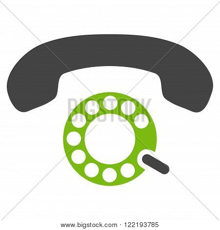 Pulse Dialing vector icon. Picture style is bicolor flat pulse dialing icon drawn with eco green and gray colors on a white background.