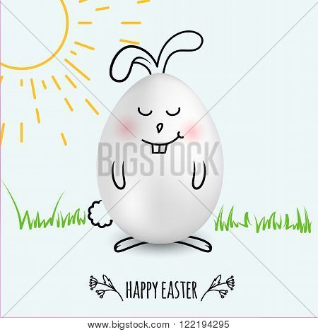 Happy Easter egg in a shape of cute happy smiling bunny on white background with hand drawn sun and grass