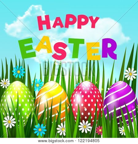 Bright Easter Card. Template Card With Easter Eggs, Grass And Flowers On The Blue Sky Background Wit