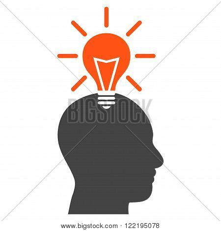 Genius Bulb vector icon. Picture style is bicolor flat genius bulb icon drawn with orange and gray colors on a white background.