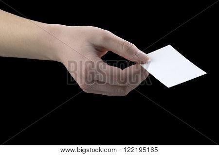 hand gestures card supply on a black background