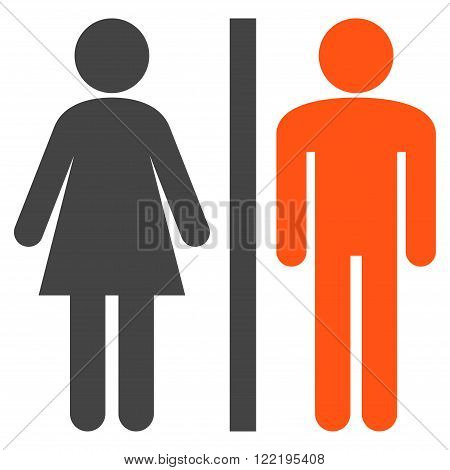Lavatory Persons vector icon. Picture style is bicolor flat WC persons icon drawn with orange and gray colors on a white background.