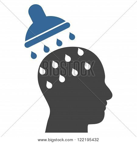 Brain Washing vector icon. Picture style is bicolor flat brain washing icon drawn with cobalt and gray colors on a white background.