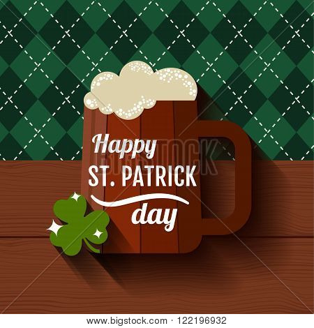 Happy Saint Patrick's Day Green day festival poster design with wood beer mug on bavarian rhombus pattern background. Vector greeting card with pint of light beer.